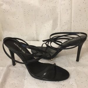 NEW VENUS Black Strappy Wrap Around Heels